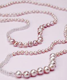 Long White Pearl and Semi Precious Stone Necklace by katandbear, $82.00