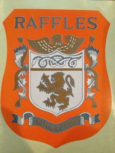 HOTEL RAFFLES Vintage 70-80s Luggage Label Decal  (SINGAPORE) Authentic unused #raffleshotelsingapore