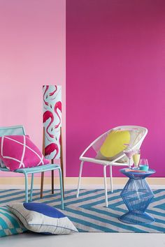 Relaxed replay: bold colours: vibrant pink 'Charlotte' with yellow 'Sunburst', retro revival, Miami Beach theme, effervescent colours. Color Trends: Haymes Color Forecast 2015