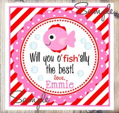Printable Valentine's Day Gift Tags Fish by thepaperkingdom, $7.00