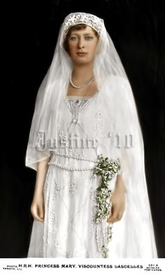 Princess Mary, Princess Royal and Countess of Harewood, daughter of King George V & Queen Mary (born Princess of Teck), on her wedding day in 1922.
