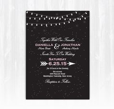 Stars and String Lights Wedding Invitation por TreasuredMomentsCard