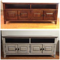Before and after.  Americana Decor Primitive chalk paint with a dark wax. This was saved from going to the dump.