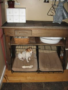 2 Dog crates in mudroom - ideas