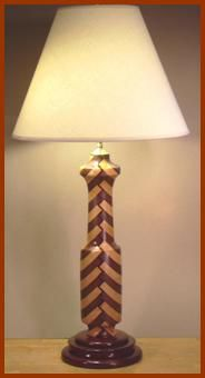 Custom Hand Made Segmented Wood Lathe Turned Table Lamps