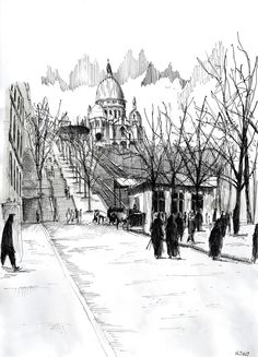 Watercolor and black ink/ Aquarelle et encre de Chine – Le funiculaire de Montmartre - Nicolas Jolly