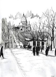 Watercolor and black ink/ Aquarelle et encre de Chine – Le funiculaire de Montmartre - Nicolas Jolly