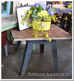 Metal+Wood……Industrial Modern Table - Petticoat Junktion