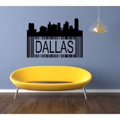 Barcode Dallas City Wall Art Sticker Decal