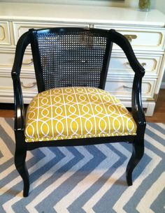 Vintage Cane Barrel Chair has a remake with black paint and updated fabric Used Chairs, Cool Chairs, Small Chairs, Chair Makeover, Furniture Makeover, Cane Back Chairs, Cane Furniture, Painted Furniture, Barrel Chair