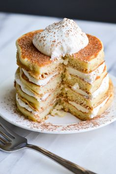 Got a major sweet tooth? These sweet, fluffy pancakes made w/ marscapone cheese, vanilla extract, cinnamon & shots of expresso taste JUST like tiramisu! #YUM