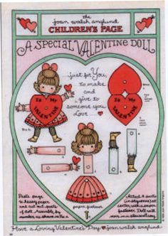 A Special Valentine Doll - Joan Walsh Anglund My Funny Valentine, Valentine Theme, Valentine Special, Vintage Valentines, Valentine Crafts, Joan Walsh, Paper Art, Paper Crafts, Vintage Paper Dolls