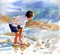 """""""feel the ocean"""" watercolor Watercolor Sea, Watercolor Sketchbook, Watercolor Illustration, Watercolour Painting, Painting & Drawing, Watercolours, Painting People, Am Meer, Illustrations"""