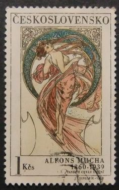 Postage stamp from Czechoslovakia 1969 razítko: Alphonse Mucha - - Dance of Cycle Art Art Nouveau Mucha, Alphonse Mucha Art, Art Nouveau Poster, Art Deco Posters, Old Stamps, Vintage Stamps, Illustrations, Graphic Illustration, Postage Stamp Art