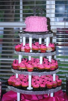 http://www.sweet-servings.blogspot.com  My cupcake tower, all pink with bling