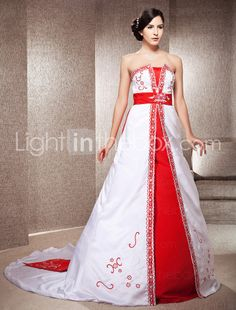 A-line Strapless Chapel Train Satin Wedding Dress With Embroidery - AU$ 344.02