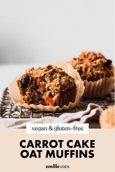 Made with oats, these healthy Carrot Cake Muffins make a delicious grab-and-go breakfast or snack to fuel you. Vegan and gluten-free! #carrotcake #bakingrecipes #glutenfreebaking Oat Flour Recipes, Fun Baking Recipes, Vegan Dessert Recipes, Vegan Breakfast Recipes, Vegan Snacks, Easy Snacks, Vegan Recipes Easy, Healthy Desserts, Free Recipes