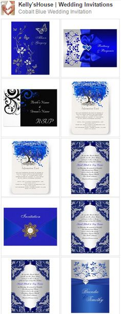 You want a wedding event invite to match the general theme and state of mind of the wedding. Is your wedding event official or casual? A formal wedding might require traditional script font styles, official wording, and the traditional double envelope. Summer Wedding Colors, Fall Wedding, Diy Wedding, Dream Wedding, Formal Wedding, Blue Wedding Invitations, Wedding Themes, Wedding Cards, Royal Blue Wedding Decorations