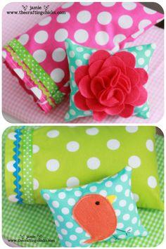 Doll bedding with cute felt flower pillow