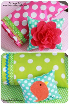 Doll bedding with cute felt flower pillow