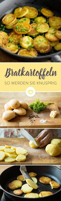 So gelingen dir knusprige Bratkartoffeln The roast potato roast wants to be practiced, there are a few points to note so that they crisp and shapely leave the pan. Not for nothing is the preparation of fried potatoes as king discipline. Great Recipes, Healthy Recipes, Good Food, Yummy Food, Potato Dishes, Fried Potatoes, Macaron, Vegetable Recipes, I Foods