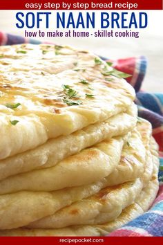 This naan bread recipe is easy and eggless and healthy to make. This homemade In… This naan bread recipe is easy and eggless and healthy to make. This homemade Indian bread is fast to cook in a skillet. Soft and… Continue Reading → Make Naan Bread, How To Make Naan, Homemade Naan Bread, Recipes With Naan Bread, Best Bread Recipe, Bread Making, Indian Naan Bread Recipe, Garlic Naan Bread Recipe Easy, Unleavened Bread Recipe