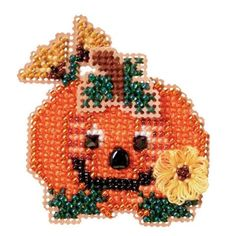 Mill Hill® Pumpkin Smile Counted Cross-Stitch and Bead Kit - Herrschners