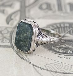 Moss Agate Deco Cocktail Ring, $575.00