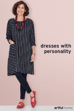 Showcase your distinctive personality with our diverse array of artist-designed dresses—effortless styles great for traveling, twirling, layering, or lounging. Cute Dress Outfits, Cute Dresses, Clothing Patterns, Dress Patterns, Tunic Sewing Patterns, 60 Fashion, European Fashion, Modest Fashion, Fashion Trends