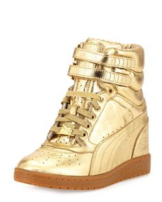 Rime Sky Wedge Leather High-Top Sneaker, Gold by PUMA at Neiman Marcus.