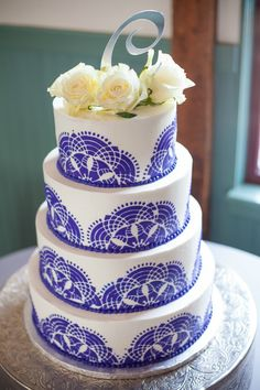 Purple Lace Inspired Jewish Wedding Cake