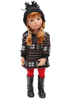 Fairisle Dress In Red, Black & White With Hat