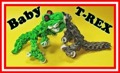 Rainbow Loom BABY T-REX figure. Designed and loomed by DIYMommy. Click on photo for YouTube tutorial. 04/04/14
