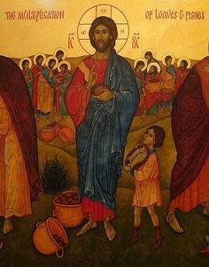 New Skete: multiplication of loaves & fishes Images Of Christ, Religious Images, Religious Icons, Religious Art, Jesus Feeds The Multitude, Jesus Lives, Jesus Christ, Miracles Of Jesus, Church Icon