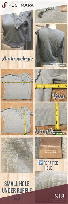 🌸Sz Small Knitted & Knotted Ruffle Collar Swester Measurements are in photos. Normal wash wear, no flaws. C3 **one sleeve is a dolman style sleeve, the other is a fitted sleeve.  Ask about a bundle discount on all items that are not ⏰Flash Sale items! I ship everyday. I always package safely. If I run out of boxes, I will use priority bags over a polymailer bag. If you prefer to only receive this great item in a box, please let me know! Thanks! Anthropologie Sweaters