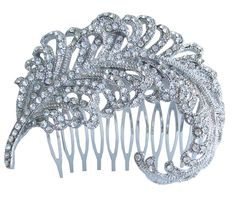 Sindary Wedding Headpiece 2.76' Leaf Bridal Hair Comb Silver-tone Clear Rhinestone Crystal ** Read more  at the image link.