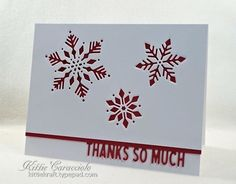 I hope you had a wonderful Christmas with your family and friends. I like to make simple thank you cards that reflect the holiday but are not necessarily Christmas. The simplicity of the Impression Obsession Snowflake Cutout. Christmas Thank You, Merry Christmas Card, Holiday Cards, Christmas Ideas, Xmas, Christmas Snowflakes, Teacher Thank You Cards, Thank You Note Cards, Winter Karten