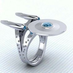 Star Trek Enterprise ring: excellent & insane stone setting! Wish I knew who made it so I could give them credit!