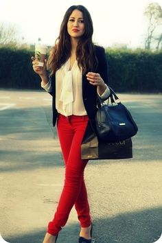 Love this look! Colored jeans, preferably red! With a textured blouse and blazer