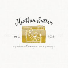 Premade Gold Camera Logo Design Premade Logo Design Flower Logo Design Photographers Logo Photography Logo Graphic Design Watermark Logo