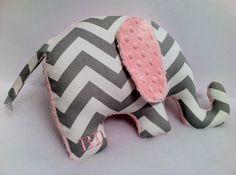 Personalized Elephant Pillow_Zoo Nursery_White Grey by SewPookie