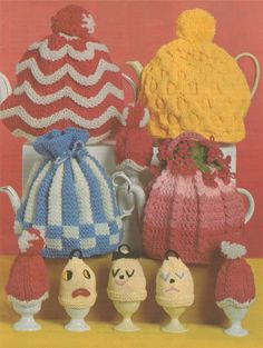 Tea Cosy & Egg Cup Cosies Knitting Pattern : Teapot Cosy - Kitchen Home Accessories - Breakfast Fun - Easter - PDF Digital Download by PDFKnittingCrochet on Etsy