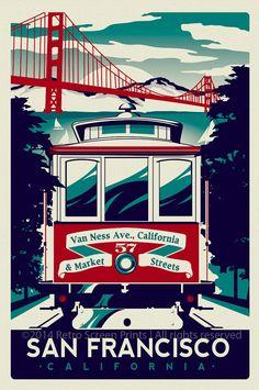 San Francisco Golden Gate Bridge cable car Retro Vintage silk screen printed poster - Etsy