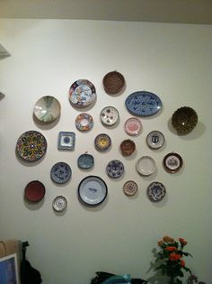 Wall of plates Www.gillianwells.com