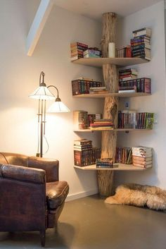 This reading nook has a rustic bookshelf idea for those looking to bring a bit of the outdoors in.