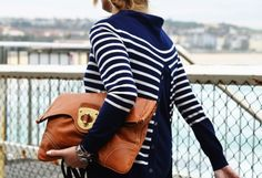 classic blue and white striped sweater, brown leather clutch