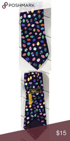 """Alynn Neckwear Mens Necktie Tie Easter Eggs Silk Alynn Neckwear Mens Necktie Tie Easter Eggs 100% Silk USA Colorful Designs. Pre owned in excellent condition. The tie measures 61"""" in length and 3.5"""" wide at the widest part. Alynn Neckwear Accessories Ties"""