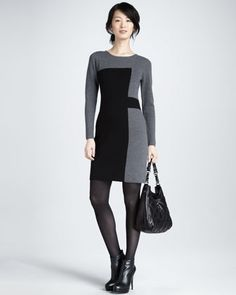 Paneled Intarsia Sweater Dress by Milly at Bergdorf Goodman.