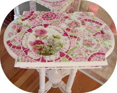 Shabby pink roses, mosaic table, vintage table, pedestal mosaic table,     www.RomancingTheRoseStudio.com ©Website Design by: OneSpringStreet.NET 2011