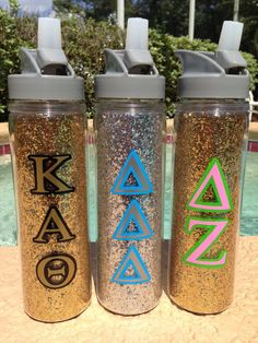 Glitter Insulated Sports Water Bottle with Greek Letters